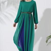 (Baju Impor) Green Long Dress Maxi Raisa - Hijab Lebaran # Hijau