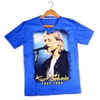 Kaos Kurt Cobain- Nirvana - Biru - Distro Quality