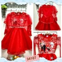 Baju fashion anak cewek perempuan dress merah elsa frozen slayer lepas