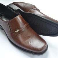Sepatu Pantofel Pria Crocodile Kulit Asli Murah Berkualitas Coklat A2