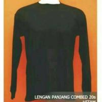 Kaos Polos Panjang Hitam ( Bahan Cotton Combed ) Size L