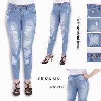 Celana Jeans Boyfriend Sobek Full Furing CK 815 615 / 617