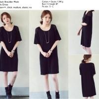 Dress korea Hitam Murah import, casual, Katun, Gauze