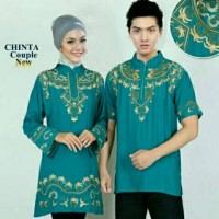 Baju Couple Muslim / Gaun Batik Gamis Couple Top Embroidery Chinta
