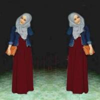 Baju Wanita Muslim Jeans Levis Warna Merah maroon Hijab Gamis Muslimah
