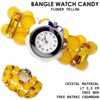 Jam tangan gelang wanita candy flower full set-yellow