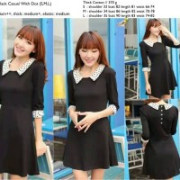 Black Casual With Dot Dress - 21927