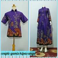 Baju Couple Gamis Batik Kipas Ungu, Bahan Katun Halus, Busui