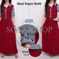 maxi rayon batik/terusan dress maxi/baju gamis/pakaian muslim/pa PVFB