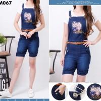 Celana kodok pendek jeans miret burung hantu lucu with inner and belt