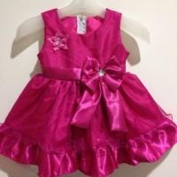 Baju dress anak bahan satin usia 10-12 bulan cocok untuk acara pesta