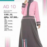 Baju Gamis Alnita Murah Abu Navy Pink Baby AG10