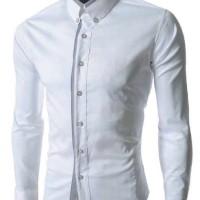 Baju Kemeja Panjang Pria Putih Polos Formal Kantoran Kerja Distro Slim