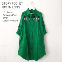 Story Pocket Green(Atasan Wanita-Blouse-Kemeja-Baju Hijab)