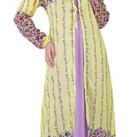 Gamis Wanita Motif Bunga SHJx037 Kuning Kombinasi