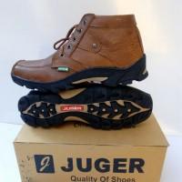 Sepatu Boot Pria Kulit Sapi Asli JUGER Coklat Gelap Branded Casual A1
