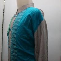 Baju Muslim Koko Anak Biru Muda Lengan Panjang Bordir LKT 036