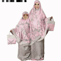 terbaru mukena cantik katun jepang couple ibu dan anak flower pink