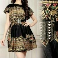 Dress Midi/Mini/Gaun Batik Cantik Modern Etnik Elegant Party/Pesta