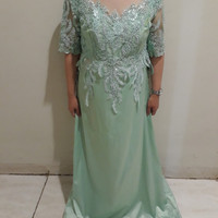 Sewa Gaun pesta mama pengantin hijau tosca/ mint