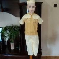 Baju Koko Busana Muslim Pria Setelan Koko Anak Cream Lengan Pendek