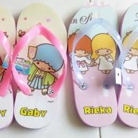 Sandal Flat Karakter LITTLE TWINS STAR free nama sendiri,,,