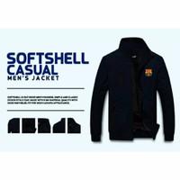 HARGA GROSIR NEW Jaket SoftShell Biru Navy Waterproof PRIA COWOK MURAH