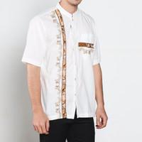 Promo Lebaran Baju Koko Putih Aplikasi Batik Modern Style Pria Keren