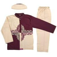 Baju Muslim Koko Anak Laki-laki Stelan Setelan Set Peci AS15-1