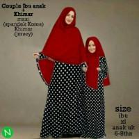couple gamis abaya polkadot azura+hijab khimar