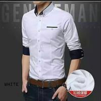 kemeja fashion pria belang hitam putih impor korea