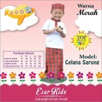 Sarung Instan Anak Model Celana Warna Merah,Baju Koko,Saruna,Celarung