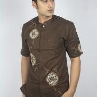 Pakaian Pria Baju Koko Lengan Pendek Warna Coklat Bermerk