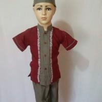 Koko Anak Baju Muslim Anak Laki - laki Lengan Pendek Al Muttaqin