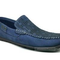 Sepatu Mocasin Kulit Pria JUSTIN OTTO - LH5 1387 Navy