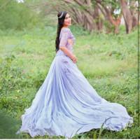 sewa gaun bridal / pengantin jakarta / gaun bridal ungu  brukat
