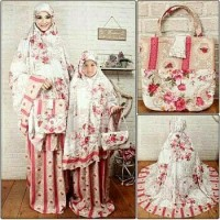 Baju murah!! Mukena couple ibu anak dahlia red