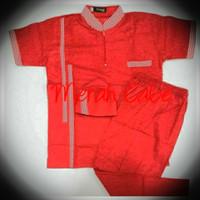 Baju Koko anak Stelan  Model D-Strip Umur 10-12 Tahun