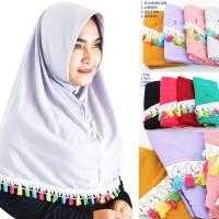 Kerudung Hijab Instan Najwa Tassel Bahan Kaos Katun TC Tebal