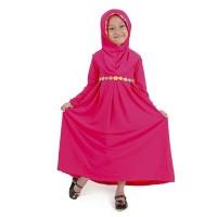 Baju Muslim Gamis Anak Perempuan Pink Lucu Simple & murah