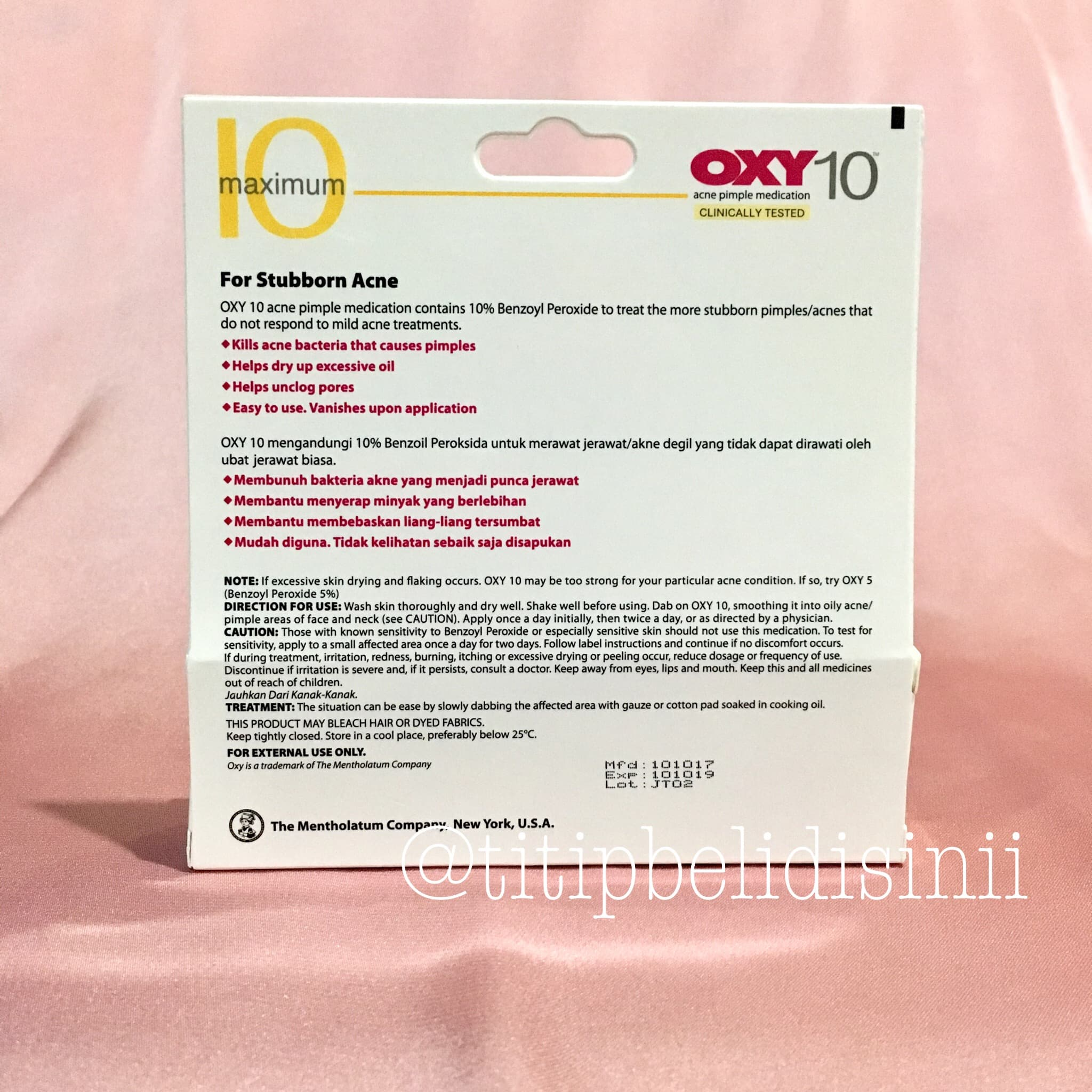 Oxy 10 - Acne Pimple Medication - For Stuborn - Obat Jerawat 25gr - Blanja.