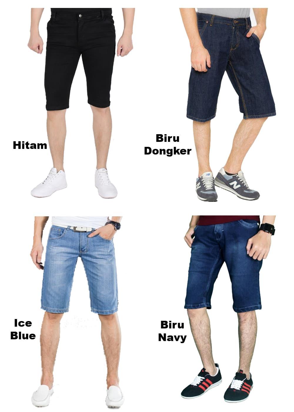 Jual Celana Pendek Tcash Juli Jeans Strech Panjang Pria Model Slimfit Hitam Short